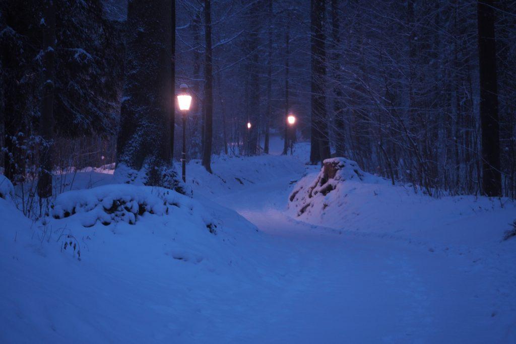 Verschneiter Laternenweg am Sonntagmorgen