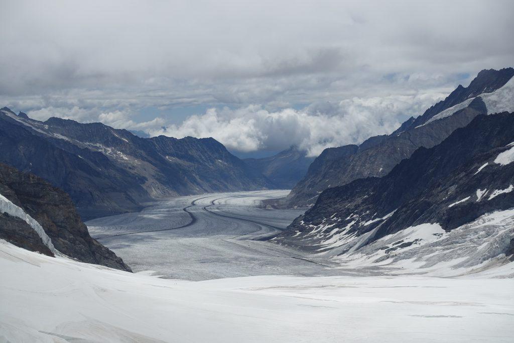 Der grösste Eisstrom der Alpen, der Aletschgletscher, vom Jungfraujoch