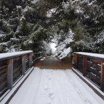 ... zurück über eine verschneite Brücke.