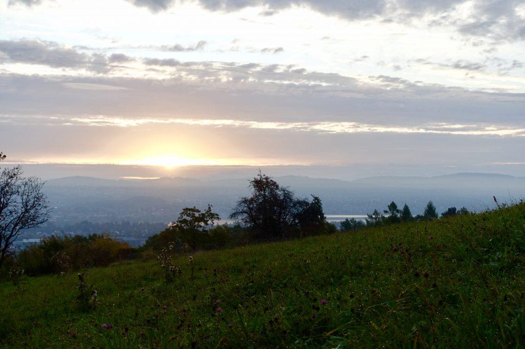 Nach getaner Downhill-Arbeit mit neuem Fully konnte ich den Sonnenaufgang über dem Zürichsee geniessen